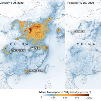 Karta som visar luftföroreningar över Kina.