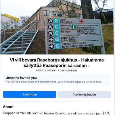 """Skärmdump 4.3.2020 av en stödgrupp på Facebook på Raseborgs sjukhus. Man ser texten """"Vi vill bevara Raseborgs sjukhus"""" och samma på finska samt en bild av sjukhuset och medlemssiffran 7 008."""