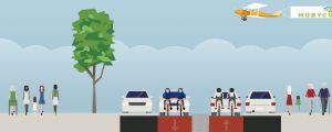 Skiss över Ågatan som cykelgata med två körfiler där cyklar bestämmer takten. Mellan filerna finns en trafikdelare.