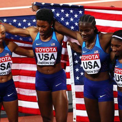 USA:n pitkän viestin voittoisa naisten MM-ryhmä