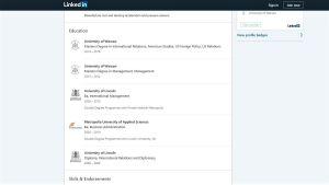 Hussein al-Taees meritförteckning på Linkedin, skärmdump.