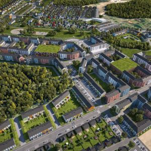 Illustration över planerat bostadsområde