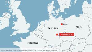 Karta över europa där Stammbach i östra Tyskland är markerat.