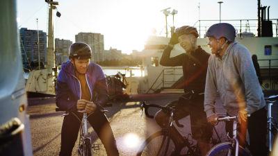 Tre män står vid sina cyklar i hamnen, solen skiner i bakgrunden.