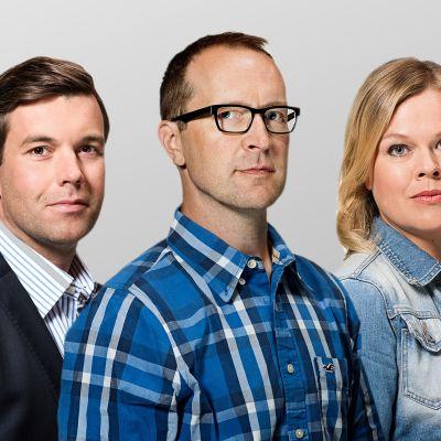 Svenska Yle Nyheters korrespondenter Daniel Olin, Christian Vuojärvi och Ingemo Lindroos