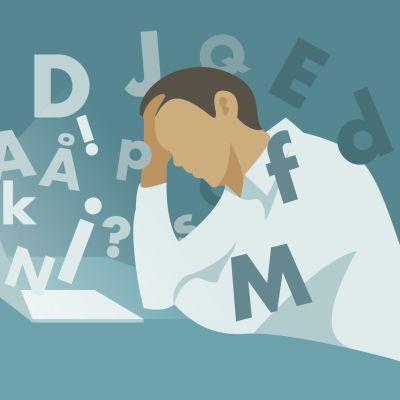 Illustration av en person med dyslexi som förbryllas av en text.