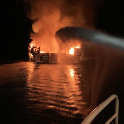Ett stort antal personer befaras ha dött i en båtbrand i Kalifornien.