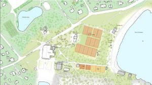 En skisskarta över hur Casinoområdet, Parkberge och Plagen i Hangö kan se ut om en ny detaljplan godkänns.
