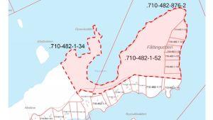 En karta som visar olika byggplatser på en ö.