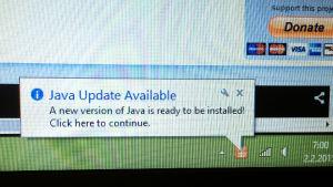 Java-päivitys saatavilla
