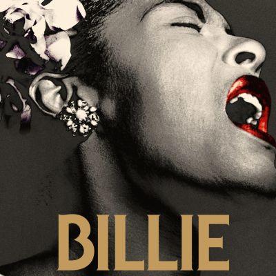 Svartvit närbild på Billie Holiday från planschen till filmen Billie.