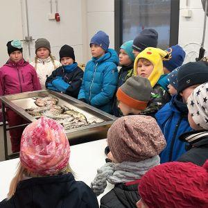 Lapsia kalastajan ympärillä sisätiloissa katsomassa kaloja.