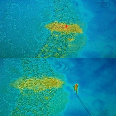 Lämpökamera näyttää keltaisella värillä, miten jäihin pudonneesta ihmisestä leviää lämpö metrejä kauemmaksi hänestä.