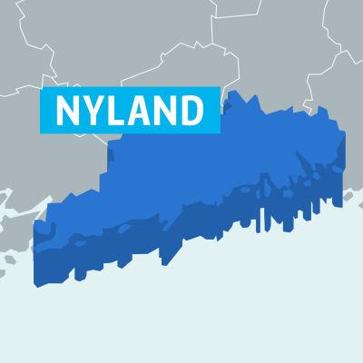 Karta på landskapet Nyland