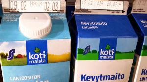 Kotimaista-maitoja, säilyvyysaika näkyy