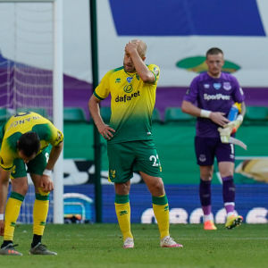 Norwichs Teemu Pukki skrapar sig i huvudet efter matchen mot Everton.