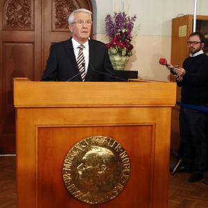 Thorbjörn Jagland kungör vinnaren av Nobels fredspris 2012.