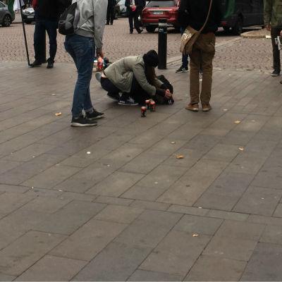 Misshandelsoffer på vid Helsingfors centralstation.