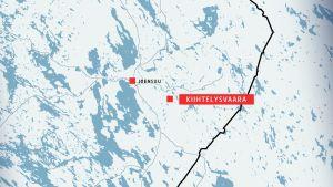 Karta där Kiihtelysvaara och Joensuu är markerade.