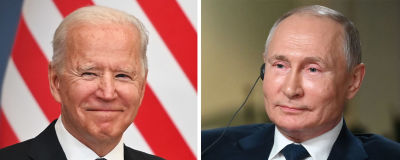 Ett bildmontage på USA:s president Joe Biden och Rysslands president Vladimir Putin.