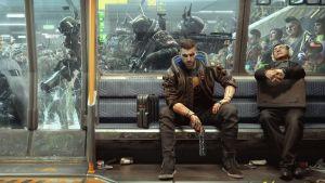 En datorgjord bild på en man som sitter i en metrovagn med ett vapen i handen. Utanför metrovagnen är det kaos: högutrustade poliser försöker mota bort människor från vagnen.