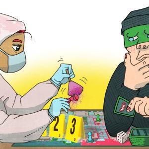 Tekninen rikostutkija ja roisto pelaavat cluedo-henkistä lautapeliä