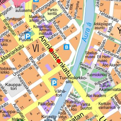 En karta som visar var grävarbetet pågår.