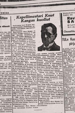 Lehtileike: Knut Kangas on kuollut.