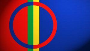 Samiska flaggan. Flaggans cirkel representerar solen (den röda halvan) och månen (den blå halvan).  Färger enligt traditionella klädesfärger.