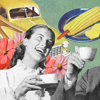 50-luvun nainen ja mies juovat kahvia. Miehen pään paikalla on koiran pää.