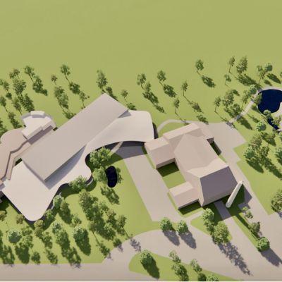 Havainnekuva kaksi erillistä rakennusta yhdistävästä lisärakennuksesta.