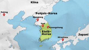 Kartta: Etelä-Korea ja ympäröivät maat