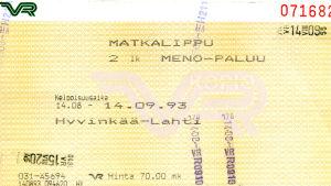 Junalippu vuodelta 1993.