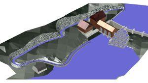 En karta där man ser en naturlig och en teknisk fiskväg inritat vid ett kraftverk vid en å.