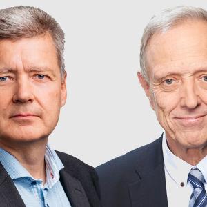 Yles vd Lauri Kivinen och Yles styrelseordförande Thomas Wilhelmsson.