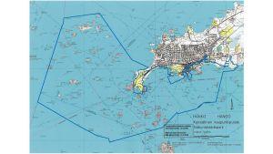 Karta över Hangö med kringliggande vattenområde.
