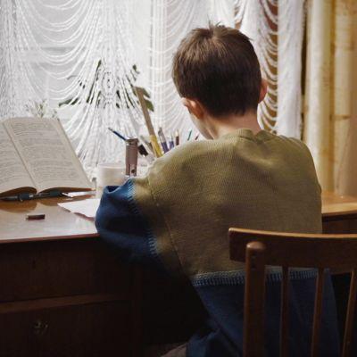 En pojke fotograferad bakifrån medan han sitter och jobbar vid ett skrivbord och läser.