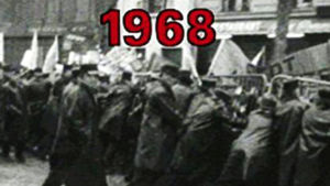 Demonstranter i Paris 1968.