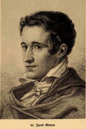Jacob Grimm som kurhessisk legationssekreterare 1815. Grafiskt blad av Ludwig Emil Grimm.