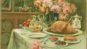 Dignande bord på ett Thanksgivingday kort.