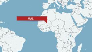 Karta över Afrika med landet Mali.