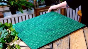 Hönsgaller på grönmålad skiva.