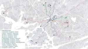 Karta med Åbos stombusslinjer.