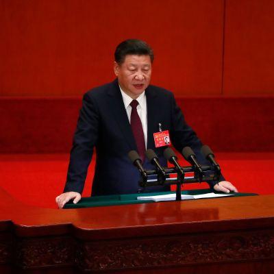 Kiinan presidentti Xi Jinping puhui tänään kommunistisen puolueen 19. puoluekokouksessa.