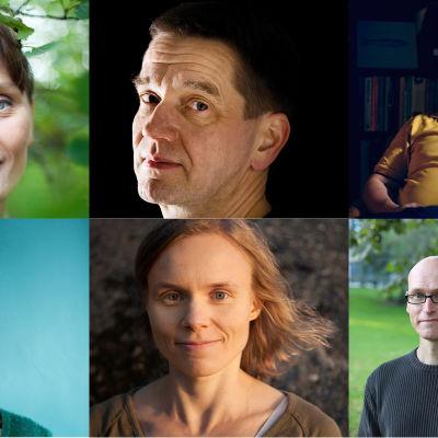 Kirjailijat Heidi Jaatinen, Olli Jalonen, Tommi Kinnunen, Sirpa Kähkönen, Anni Kytömäki, Jussi Valtonen