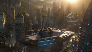 Ett rymdskepp flyger in över den futuristiska staden i Wakanda.