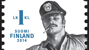 Frimärke med Tom of Finland-motiv