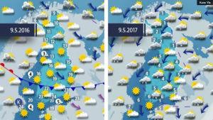Väderkartor för 2016 och 2017