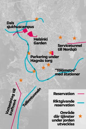 Grafik över reservationer i Helsingfors underjordiska generalplan 2020.