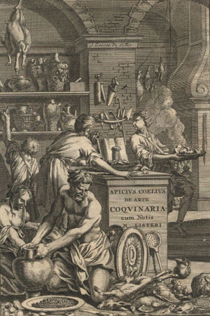 Pärmbild till Martin Listers version av Apicius kokbok: De opsoniis et condimentis.